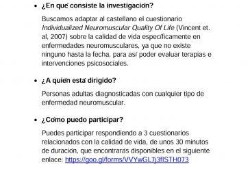 (es) Investigación: Adaptación de cuestionario INQoL